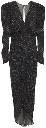 Ronny Kobo Draped Crystal-embellished Crepon Midi Dress