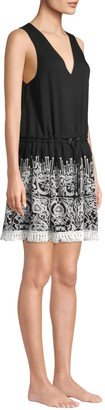 Jonathan Simkhai Embroidered Silk Crinkle Mini Dress