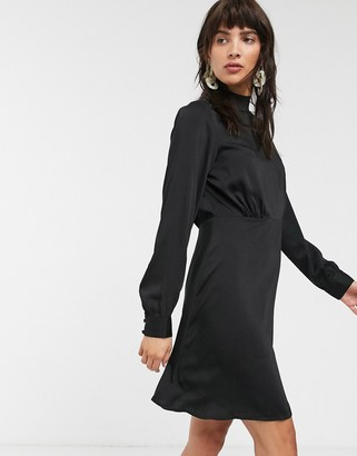 Only Naomi high neck satin puff sleeve dress-Black