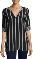Lucca Couture Long-Sleeve Stripe-Print Tunic Top, Black