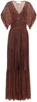 Thumbnail for your product : BA&SH Wanda Shirred Printed Metallic Georgette Maxi Dress