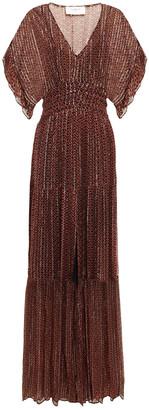 BA&SH Wanda Shirred Printed Metallic Georgette Maxi Dress
