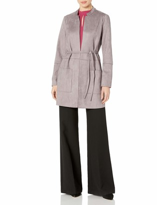 Nine West Women's Plus Size Stand Collar Scuba Suede Jacket with TIE Waist Detail