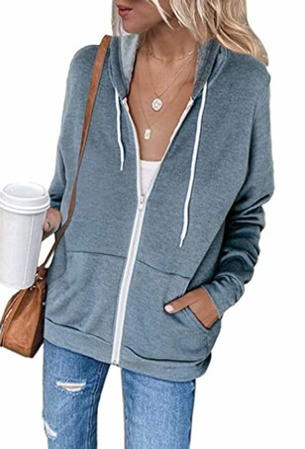 iChunhua Women Comfy Zip Up Plain Long Sleeve Loose Fit Hoodie Sweatshirt with Drawstring Grey X-Large