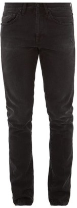 Off-White Stripe-embroidered Slim-leg Jeans - Mens - Black