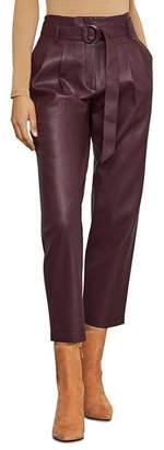BCBGMAXAZRIA Pleated Faux Leather Pants