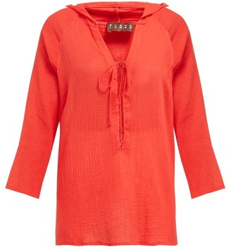 ALBUS LUMEN Aziza Cotton-gauze Hooded Blouse - Red