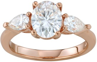 Charles & Colvard 14K Rose Gold 3 Carat T.W. Lab-Created Moissanite Oval & Pear Three-Stone Ring