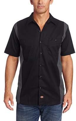 Dickies Men's Two Tone Work Casual Shirt, (Black/Charcoal)