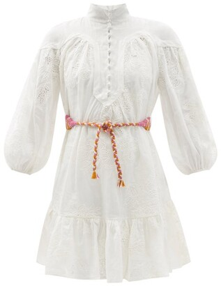 Zimmermann Riders Belted Ramie Broderie-anglaise Mini Dress - Ivory