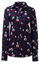 Lands' End Women's Tall Tailored No Iron Dress Shirt-Fresh Blue Plaid