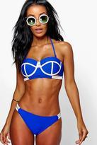 Boohoo Tenerife Longline Highwaist Block Bandeau Bikini