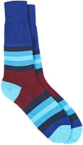 Paul Smith Men's Colorblocked Mixed-Stripe Mid-Calf Socks-BLUE