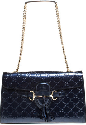 Gucci Blue Guccissima Patent Leather Medium Emily Chain Shoulder Bag