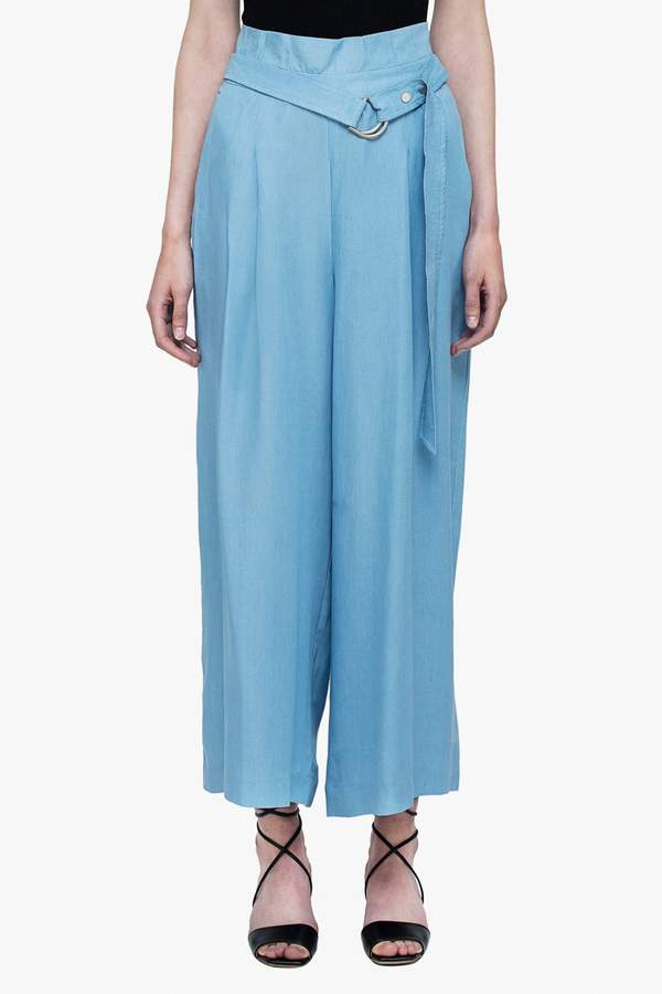 Genuine People Soft Wide Leg Belted Pants