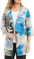 Caroline Rose Convertible Ruched Collar Dramatic Orchid Digital Print 3/4 Sleeve Jacket