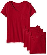 Hanes Women's Short Sleeve Jersey V-Neck Pocket Tee (Pack of 4)