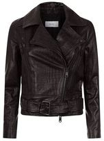 Reiss Adalie Croc Effect Leather Jacket