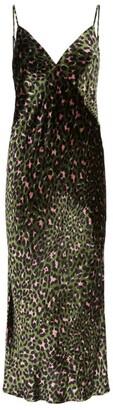 Olivia von Halle Velvet Leopard Slip Dress
