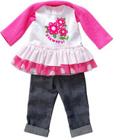 Dollie & Me Pink & White 'Flowers!' Tee Outfit for 18'' Doll