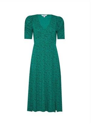 Dorothy Perkins Womens Dp Petite Green Spot Print V Neck Midi Dress, Green