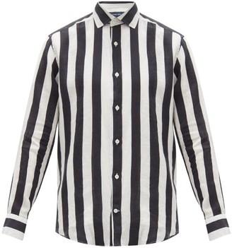 Frescobol Carioca Regular-fit Striped Linen Shirt - Blue White