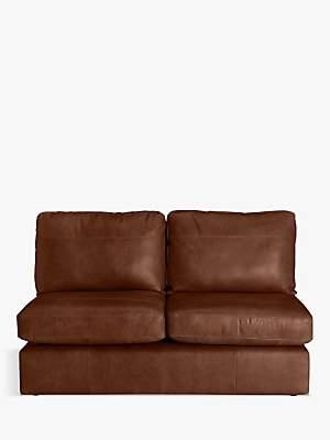 House by John Lewis Oliver Armless Leather Medium 2 Seater Unit, Dark Leg