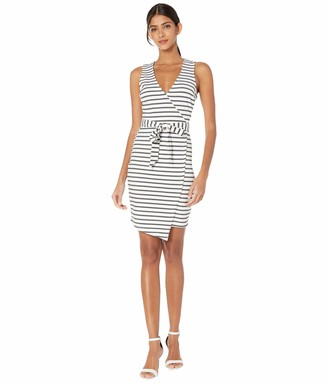 Jack by BB Dakota Women's Close to Me Ponte Stripe Wrap Dress