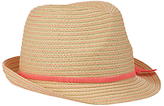 John Lewis Girls' Neon Trilby Hat, Natural/Coral