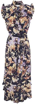 Zimmermann Ruffled Floral-print Silk-blend Midi Dress