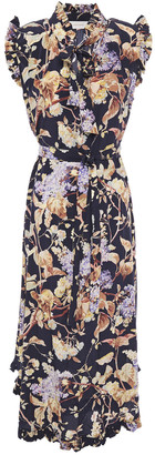 Zimmermann Sabotage Ruffled Floral-print Silk-blend Midi Dress
