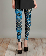 Lily Blue & White Geometric Slim-Leg Pants - Plus Too