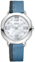 Fendi Selleria Diamonds Stainless Steel Blue Leather Strap Watch, F8050345A3C1