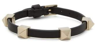 Valentino Rockstud-embellished Leather Bracelet - Womens - Black