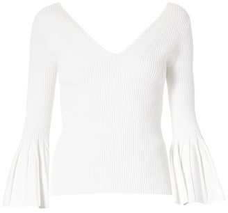 Carolina Herrera Icon Flare-Cuff V-Neck Sweater
