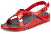 Prada Crisscross Colorblock Rubber Sandal