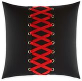 Betsey Johnson Rose Garden Corset Laced Square Throw Pillow in Black