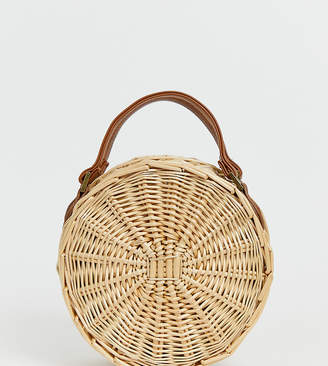 South Beach Exclusive round straw bag with detachable cross body strap