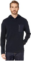 John Varvatos Collection Easy Fit Textured Hoodie with Chest Pocket K3210V4 (Midnight) Men's Clothing