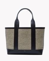 Theory Small Signature Open Tote in Raffia and Leather