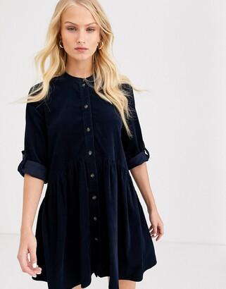 Only mini cord shirt dress-Navy