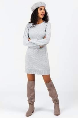 francesca's Tiff Crew Neck Sweater Dress - Heather Gray