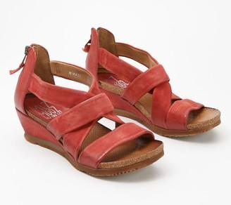 Miz Mooz Leather Cross Strap Wedge Sandals - Mika