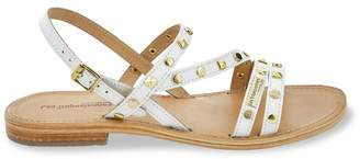 Les Tropéziennes Backy Leather Studded Flat Sandals with Sling-Back