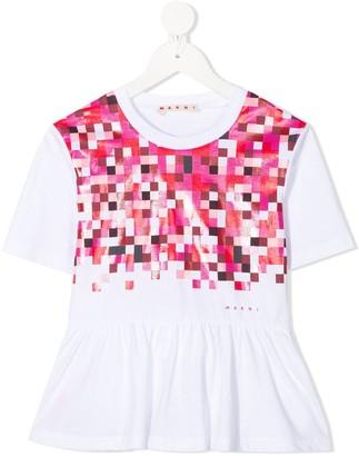 Marni short-sleeved gathered detail T-shirt