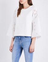 Claudie Pierlot True cotton-jersey and broderie anglaise sweatshirt
