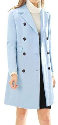 Unique Bargains Women's Long Outerwear Notched Lapel Double Breasted Trench Coat S Blue