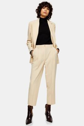 Topshop Womens Beige Peg Suit Trousers - Cream