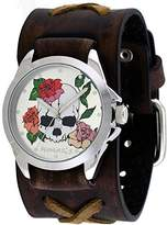 Nemesis #BFXB933S Women's Love of Death Criss Cross Brown Wide Leather Cuff Band Watch