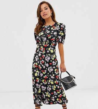 Asos DESIGN Petite midi tea dress in bright grunge floral print